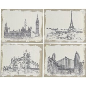 Burlap Cities 4 Piece Painting Print Set