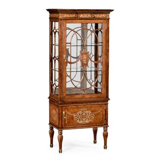Duchess Right Opening Burl and Mother of Pearl Lighted Corner China Cabinet