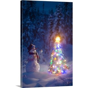 Christmas wall art paintings youll love wayfair christmas art snowman in spruce forest by kevin smith painting print on wrapped canvas solutioingenieria Choice Image