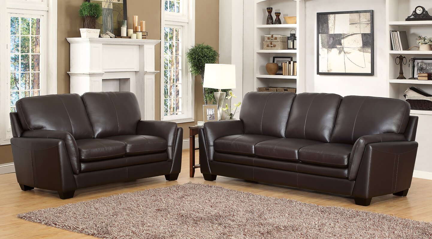 Darby home co whitstran 2 piece leather living room set reviews 2 piece leather living room set