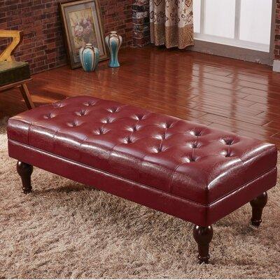 Premium Faux Leather Bench Corzano Designs Color: Burgundy Red