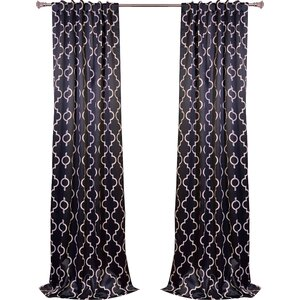 Grouse Geometric Blackout Thermal Tab top Single Curtain Panel
