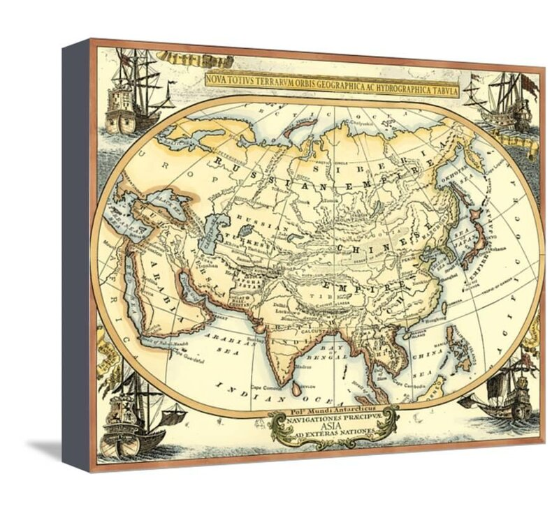 Map Of Asia To Print.Room 365 Nautical Map Of Asia Graphic Art Print On Canvas Wayfair