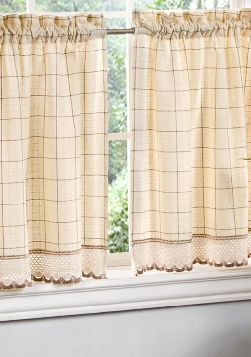 August Grove Cripe Checkered Tier Pair Cafe Curtain With Crochet Hem