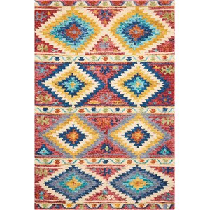 Zosia Hand Tufted Wool Red/Yellow Area Rug