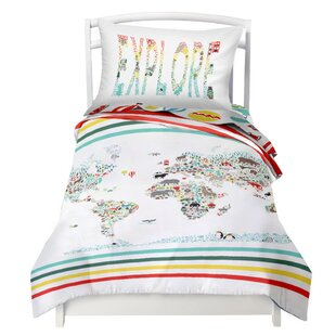 World map bedding sets wayfair world map explorer reversible duvet cover set gumiabroncs Gallery