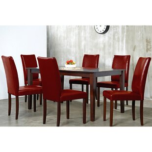 Evendale Crimson 7 Piece Solid Wood Dining Set. By Red Barrel Studio