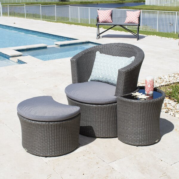 Matrix boca outdoor 3 piece lounge chair with cushion for Boca chaise pillow