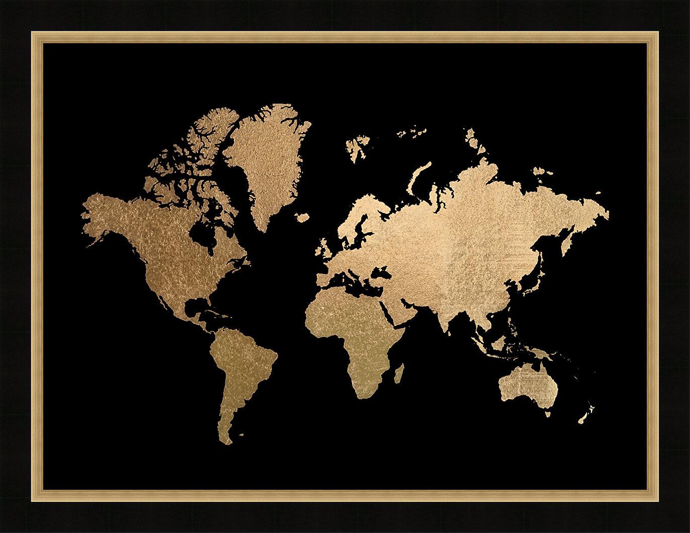 Gold Foil World Map Framed.Brayden Studio Gold Foil World Map Framed Graphic Art Print