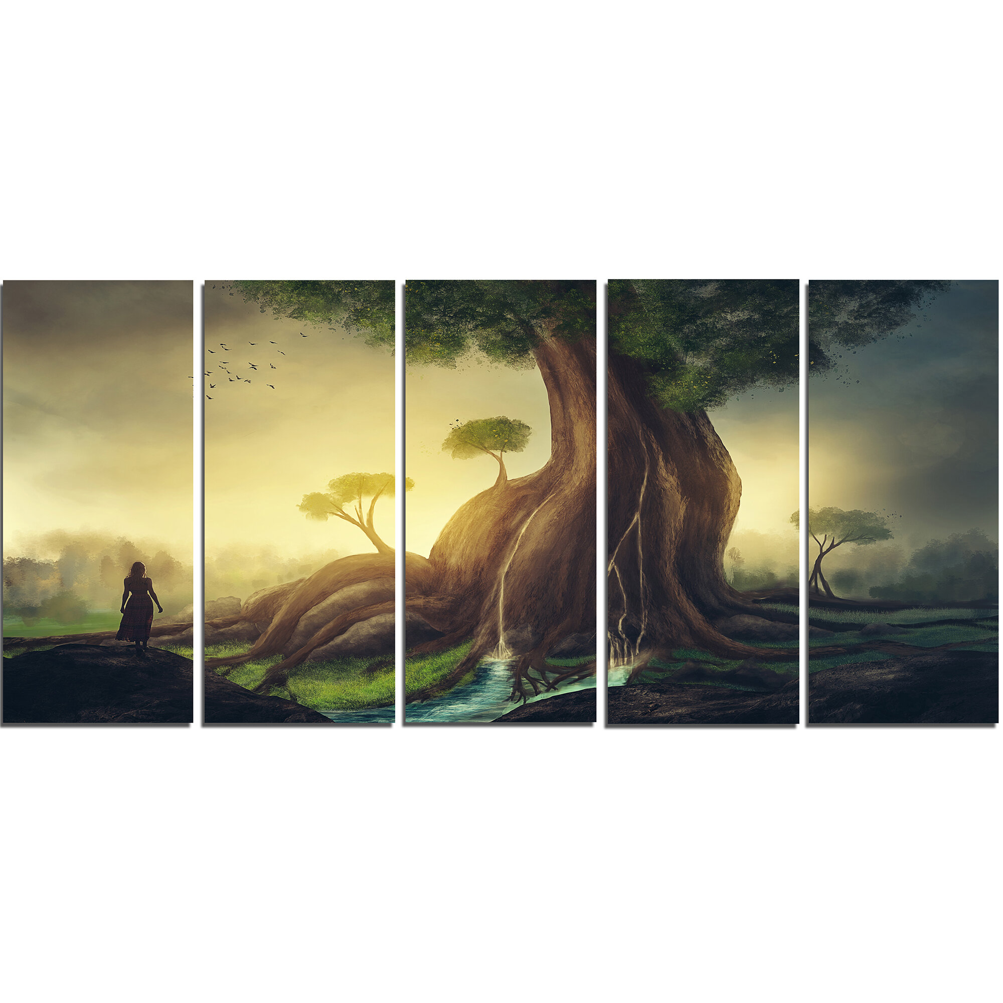 DesignArt Giant Tree with Woman 5 Piece Wall Art on Wrapped Canvas ...