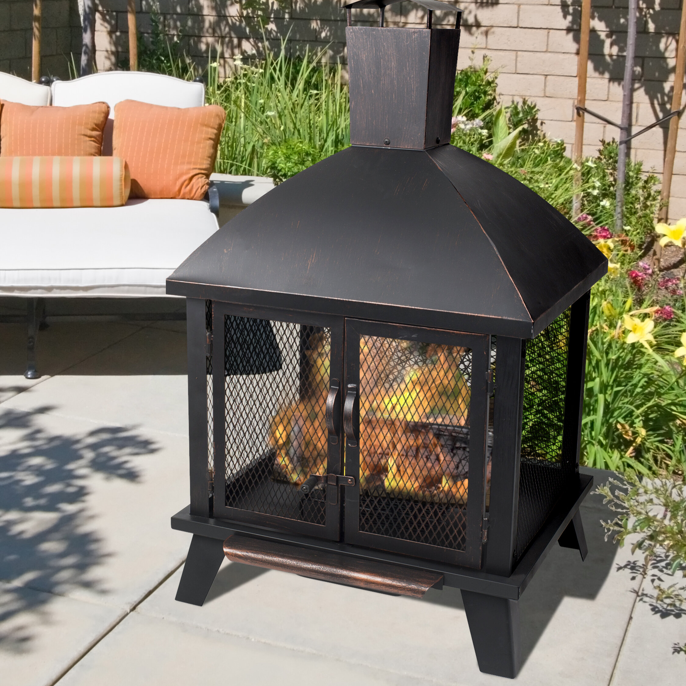 Pleasant Hearth Stratford Steel Wood Burning Fire Pit U0026 Reviews | Wayfair
