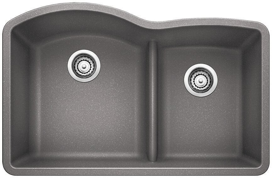 "White Undermount Kitchen Sink blanco diamond 32"" x 20.88"" low divide undermount kitchen sink"