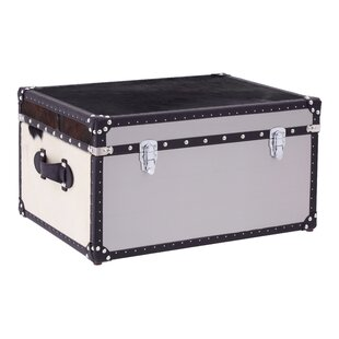 Bon Johnathan MDF Stainless Steel Cowhide Storage Trunk