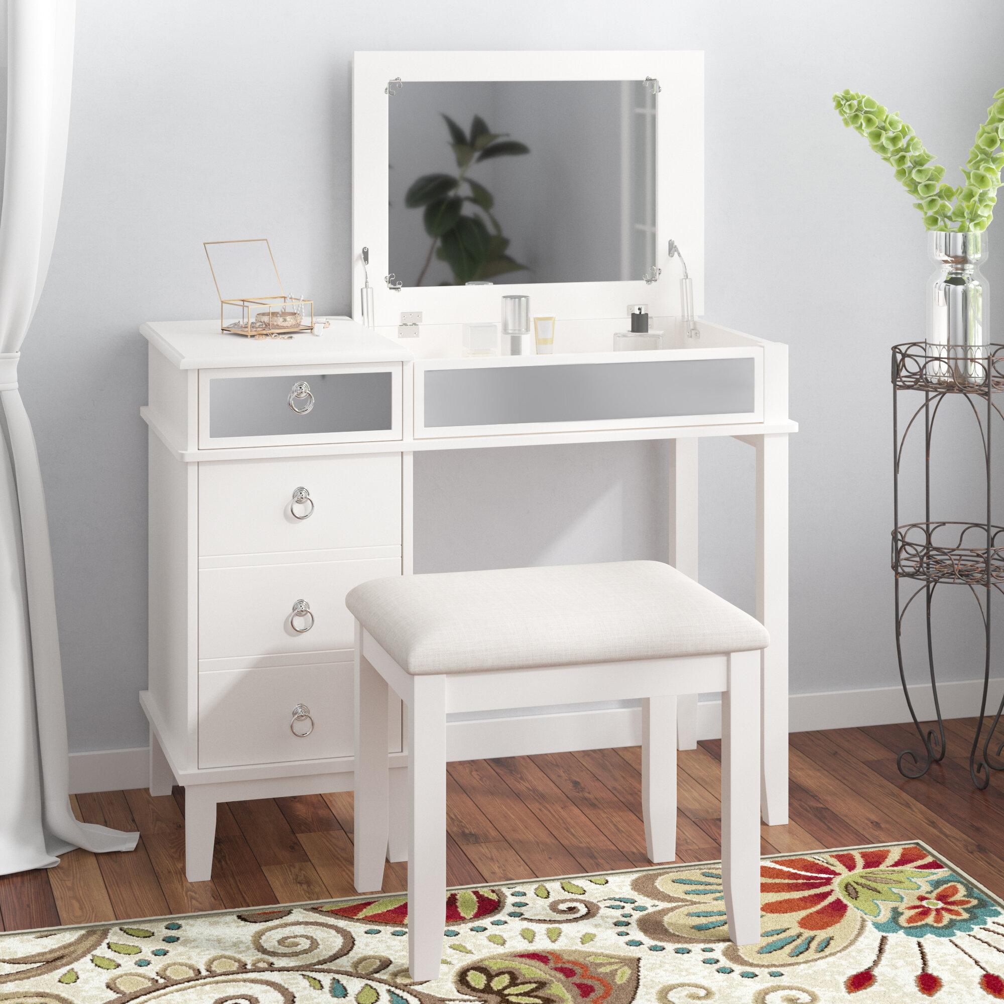 Willa Arlo Interiors Kemmerer Vanity Set With Mirror Reviews Wayfair