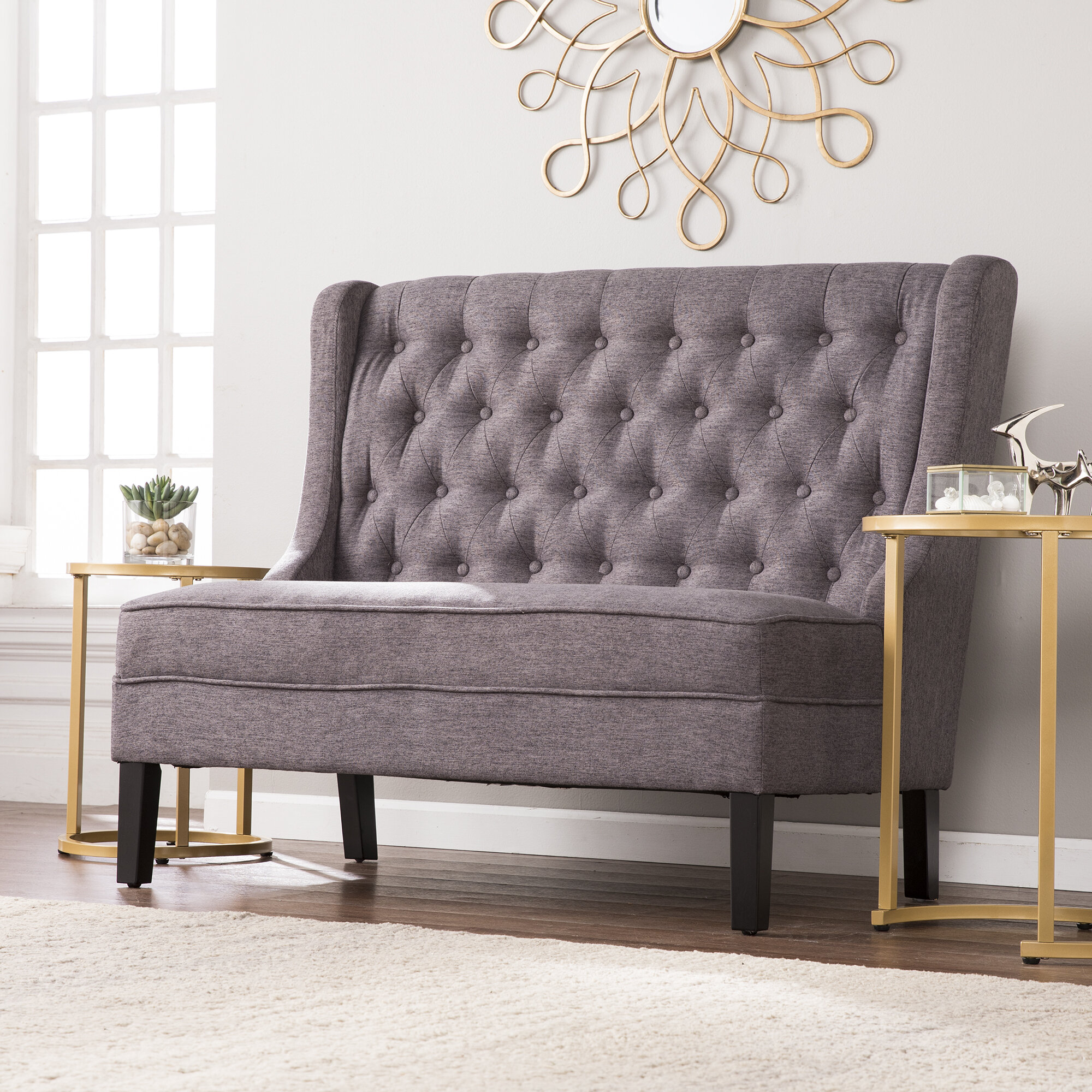 Charmant Halpin High Back Tufted Settee Upholstered Bench