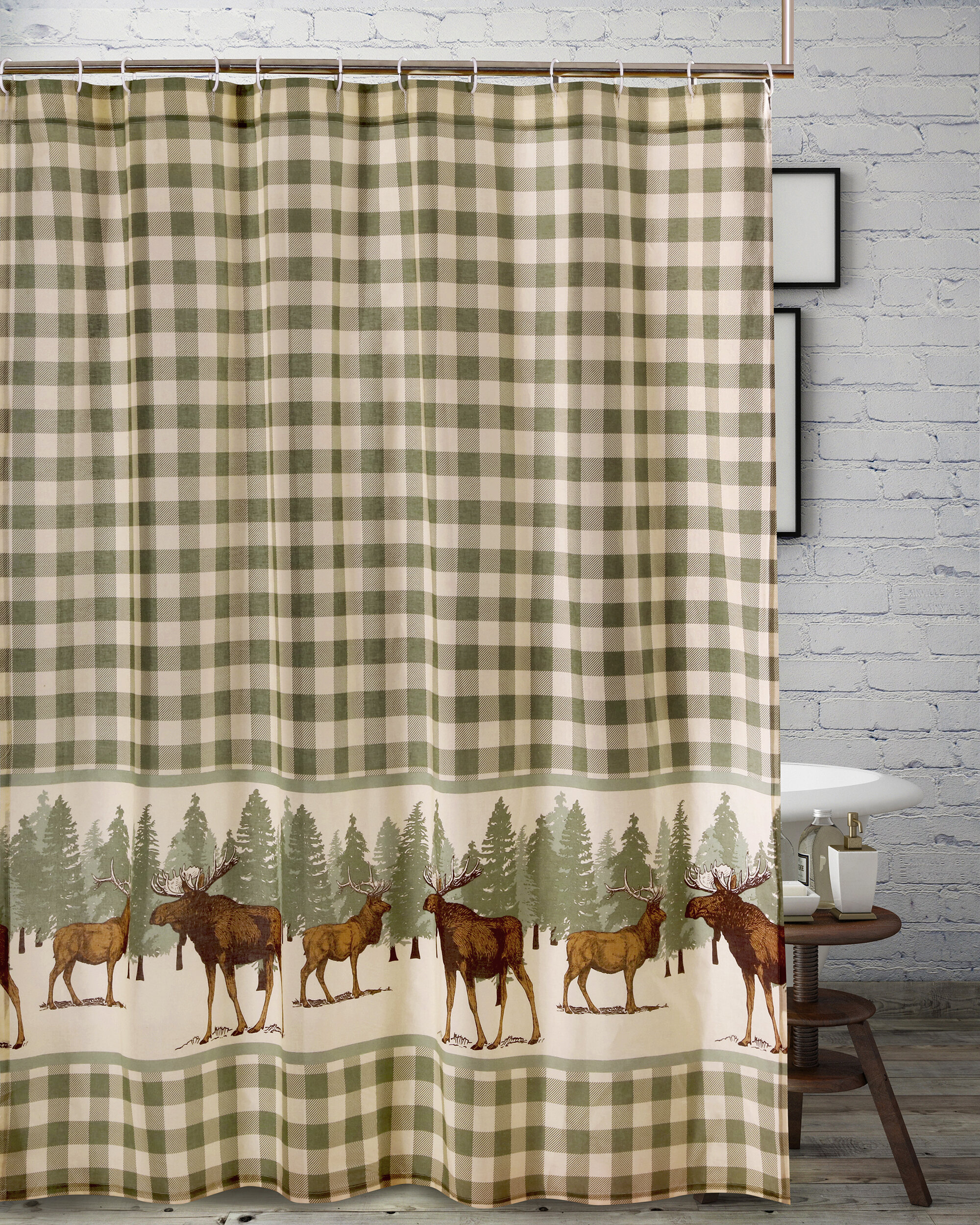 Millwood Pines Castle Moose Shower Curtain