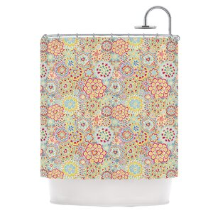 My Happy Flowers in Red Shower Curtain