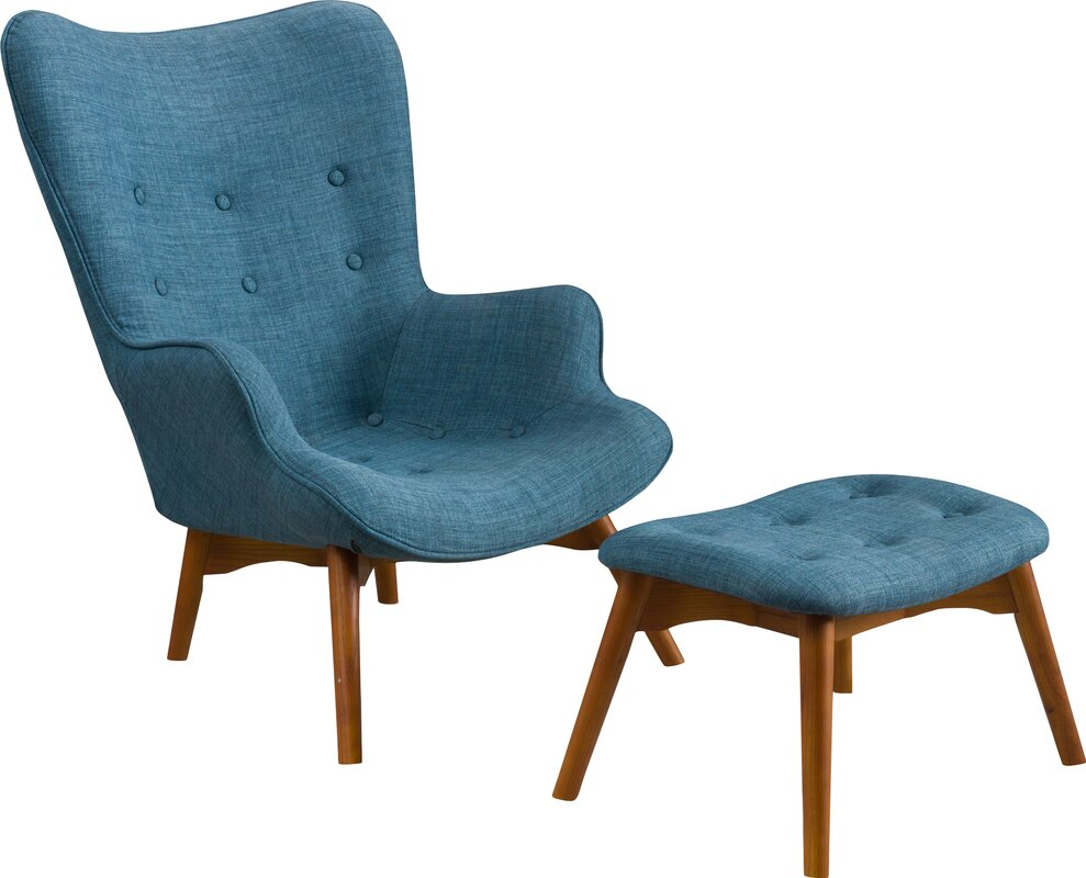 Beautiful Canyon Vista Mid Century Wingback Chair And Ottoman
