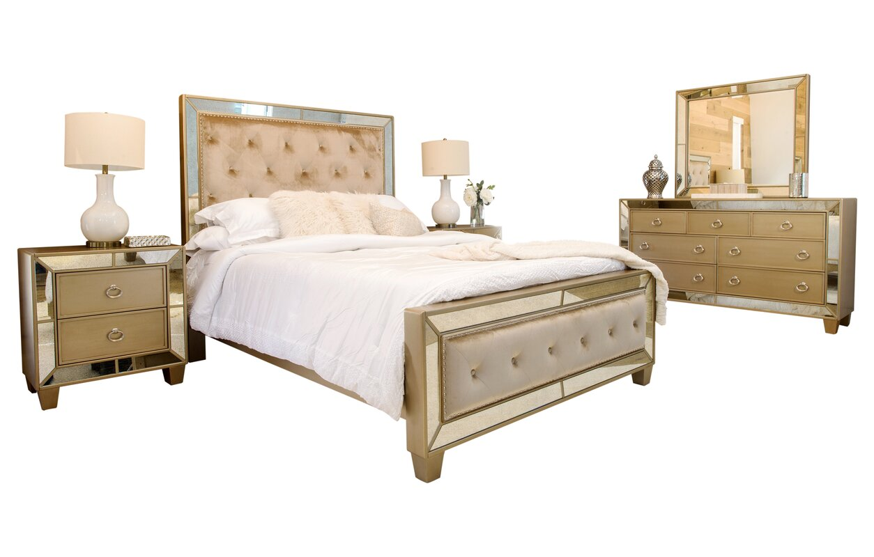alasdair mirrored tufted platform 5 piece bedroom set - Mirrored Bed Frame