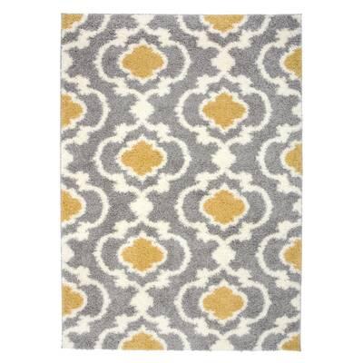 16fc56c233d Hegwood Moroccan Trellis Shag Yellow Gray Area Rug. by Andover Mills