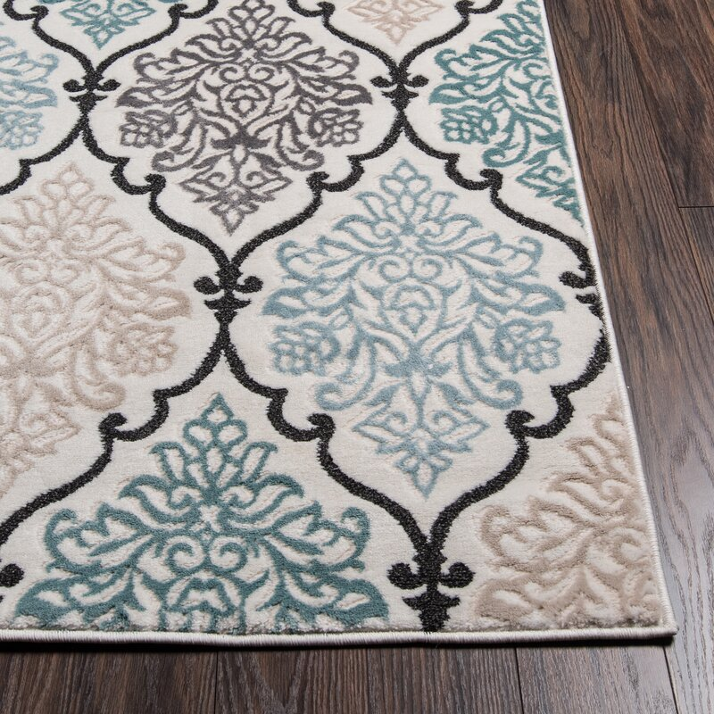 Black Area Rugs alcott hill kinsley teal/black area rug & reviews | wayfair