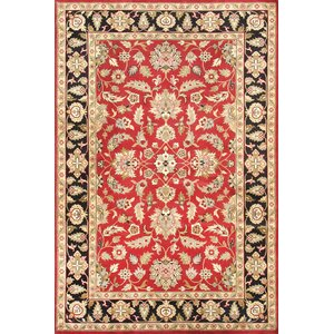 Agra Hand-Knotted Red/Black Area Rug