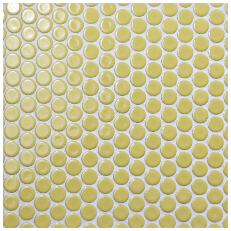 "Penny 0.8"" x 0.8"" Porcelain Mosaic Tile in Vintage Yellow"