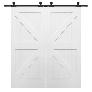 Bon Double Stile And Rail K Planked MDF 4 Panel White Interior Barn Doors