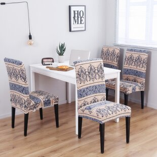 Pattern Soft Elegant Spandex Fabric Stretch Box Cushion Dining Chair Slipcover Set Of 4