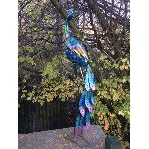 Vivid Metal Peacock Head Turned Statue