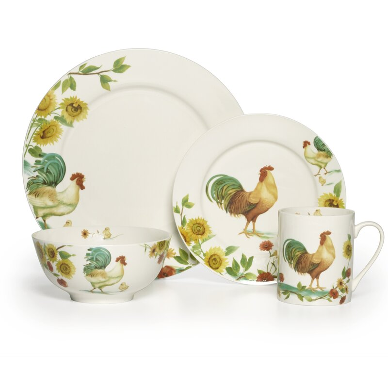Pfaltzgraff Everyday Rooster Meadow 16 Piece Dinnerware Set, Service ...