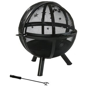 Sphere Flaming Ball Steel Wood Fire Pit