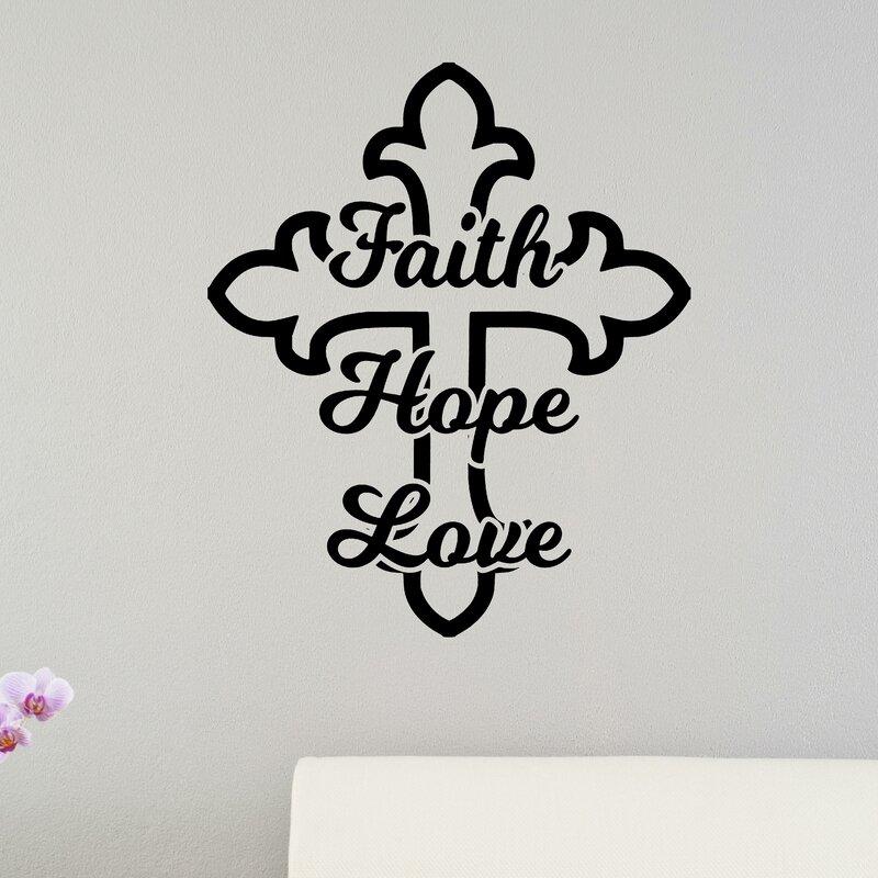 Faith Hope Love Cross Christian Bible Verse Wall Sticker Part 73