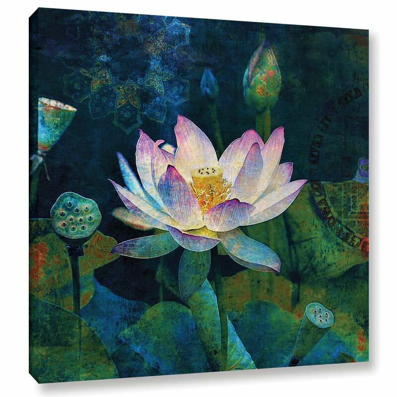world menagerie lotus blossom painting print on wrapped canvas