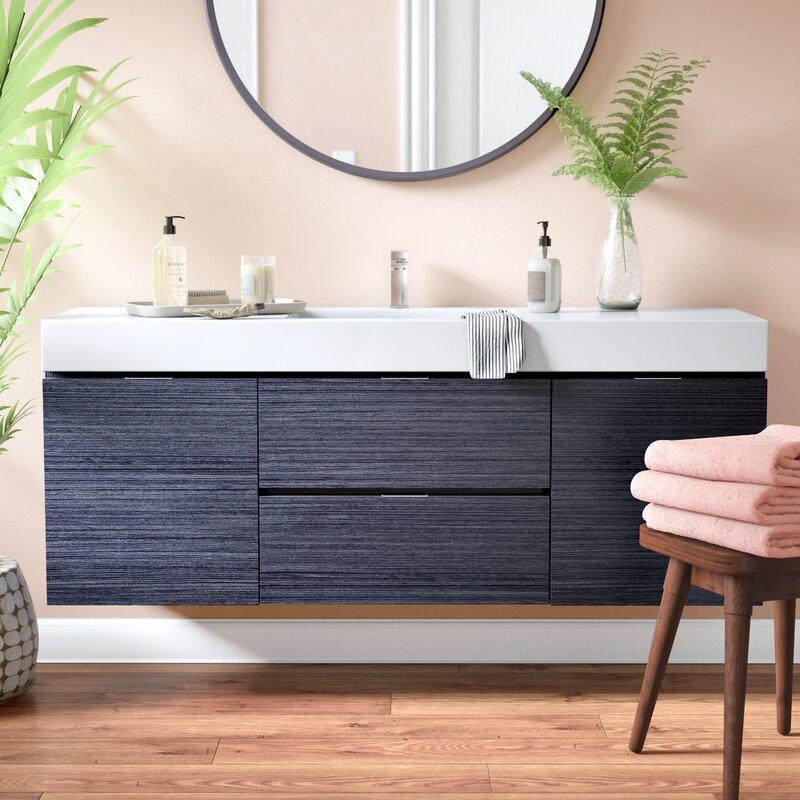 Wade Logan Tenafly WallMounted Single Bathroom Vanity Set - Bathroom vanities floor mounted