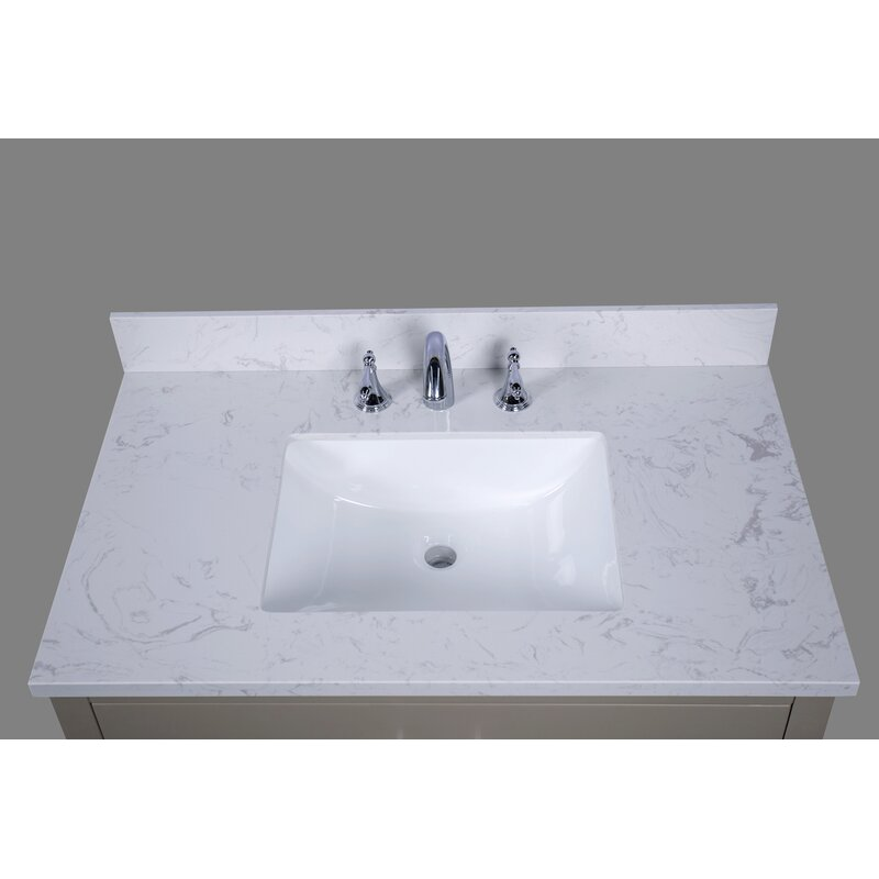 "RenaissanceVanity Bari 37"" Single Bathroom Vanity Top ..."
