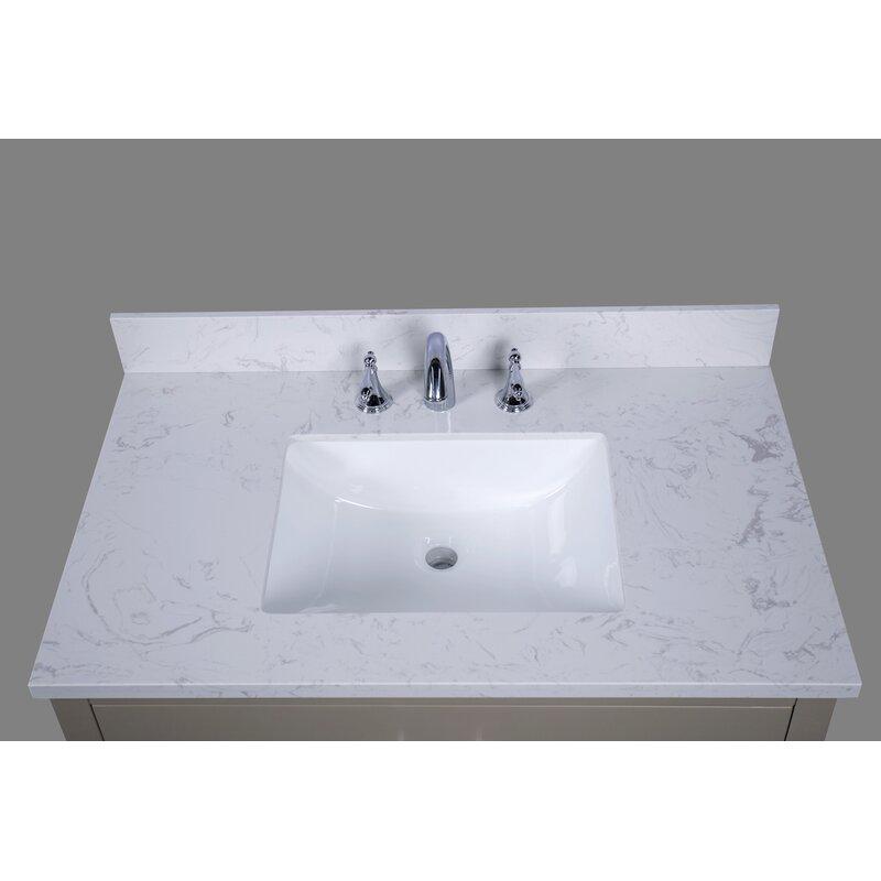 "RenaissanceVanity Bari 37"" Single Bathroom Vanity Top ..."