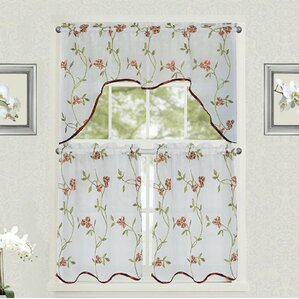 Drooks Floral Embroidered Semi Sheer Kitchen Curtain