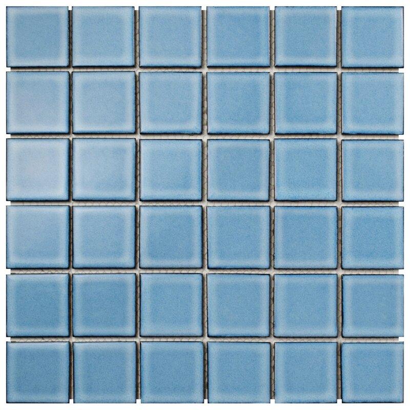 Pool 2 X Porcelain Mosaic Tile In Caribbean