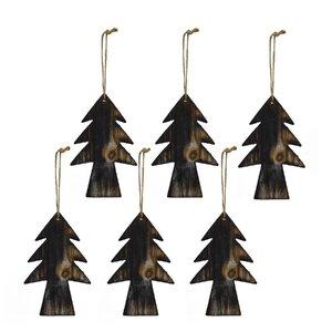 Wood Christmas Tree Ornament (Set of 6)