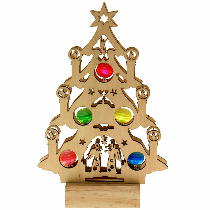 Wooden Christmas Tree With Coloured Led Baubles Window