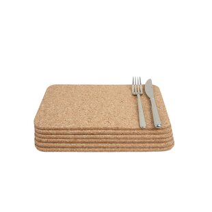 Cork Rectangular Table Mat (Set Of 6)