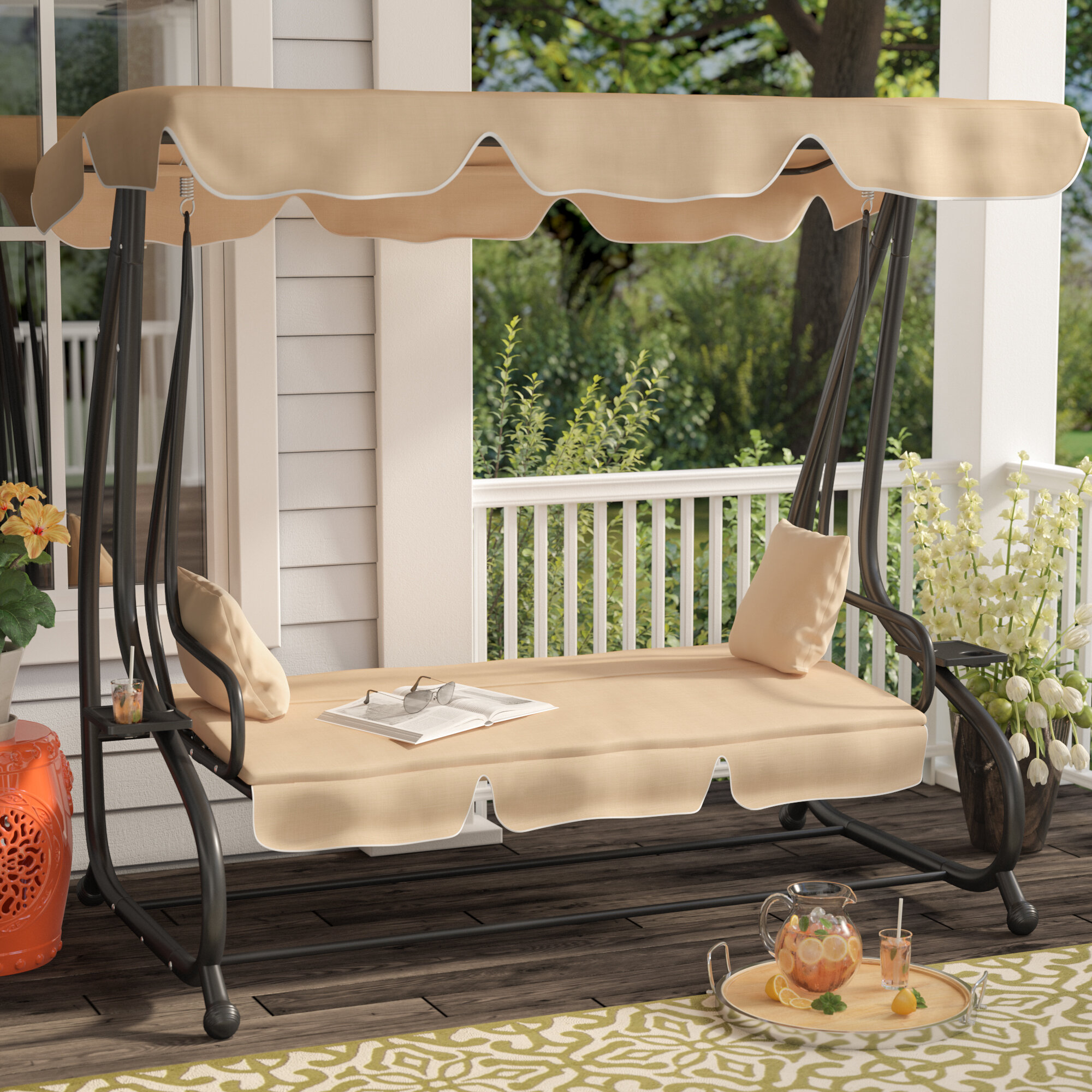 Winston Porter Whitney Outdoor Covered Porch Swing With Stand U0026 Reviews |  Wayfair
