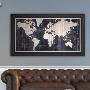 Wall art birch lane old world map blue framed graphic art on wrapped canvas gumiabroncs Choice Image