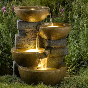 Exceptional Resin/Fiberglass Zen Tiered Pots Fountain With LED Light