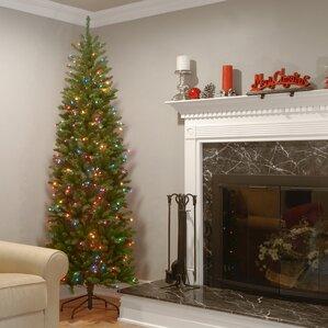 kingswood fir 90 hinged pencil tree with 350 multi color lights - 10 Christmas Tree