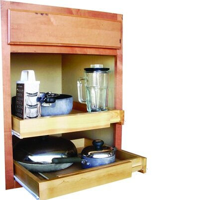 Rebrilliant Bamboo Expandable Kitchen Cabinet Pull Out Drawer ...