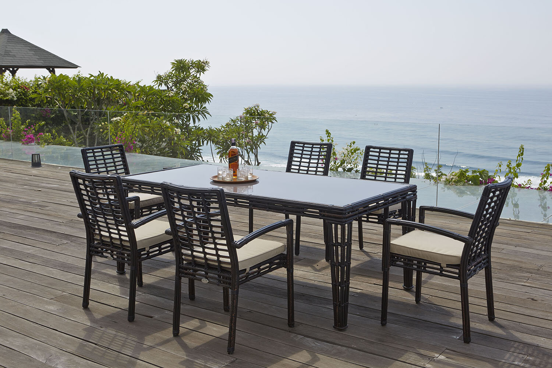 Topaz 7 Piece Sunbrella Patio Outdoor Dining Set with Cushions