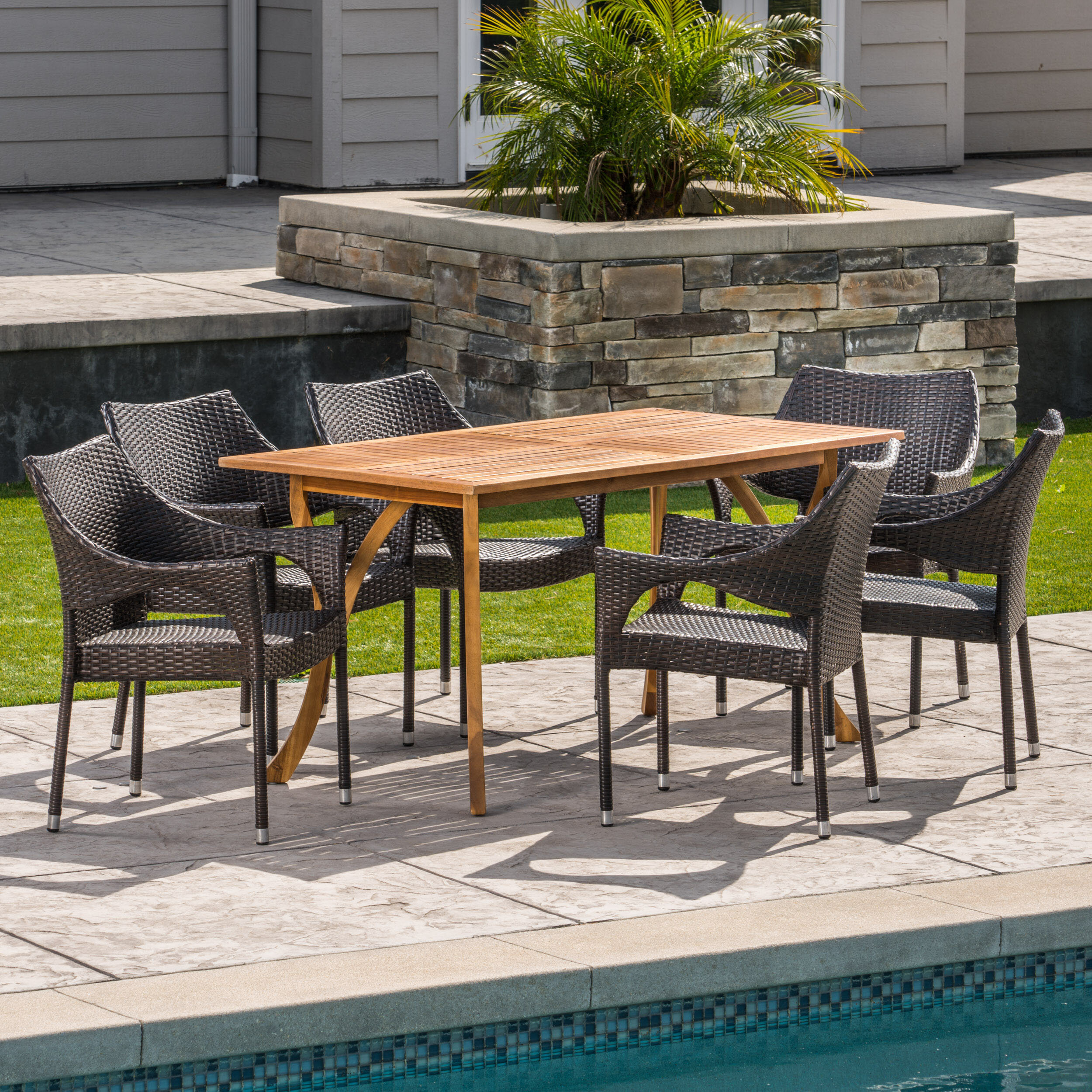 Wrought studio henegar outdoor acacia wood wicker 7 piece dining set wayfair