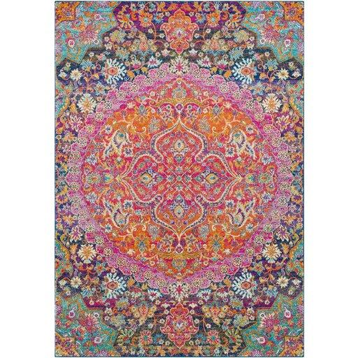 Arteaga Vintage Persian Medallion Oriental Pink Orange Area Rug